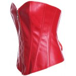 cheap Zippered Faux Leather Lace-Up Corset
