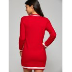 best Bowknot Embellished Contrast Knitted Dress