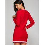Bowknot Embellished Contrast Knitted Dress for sale