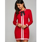 cheap Bowknot Embellished Contrast Knitted Dress
