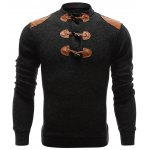Ribbed Shoulder Patch Claw Button Long Sleeve Sweater 11027