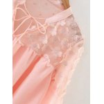 Flower Appliqued See-Through Blouse deal