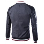 cheap Stand Collar PU Leather Splicing Jacket