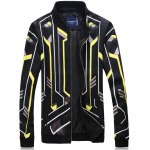 Color Block Geometric Stripe Print Zip-Up Jacket
