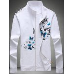 Buy 3D Butterfly Print Zip-Up Jacket 3XL WHITE