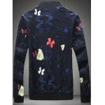 cheap Plus Size 3D Butterfly Print Zip-Up Jacket
