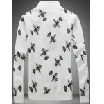 cheap Plus Size 3D Bee and Crown Print Zip-Up Jacket