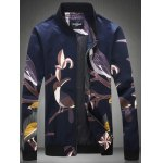Plus Size Cartoon Birds Print Zip-Up Jacket