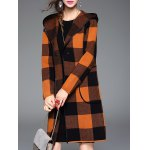 cheap Checked Hooded Cashmere Coat