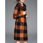Checked Hooded Cashmere Coat for sale