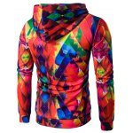 cheap Abstract Print Colormix Pullover Hoodie