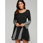 cheap Spliced Fit and Flare Dress
