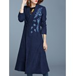 cheap One Button Embroidered Pocket Design Coat