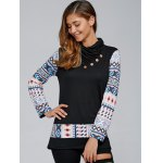 cheap Geometric Pullover Knit Sweatshirt