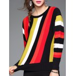 cheap Stretchy Colorful Striped Knitwear