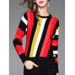 Stretchy Colorful Striped Knitwear
