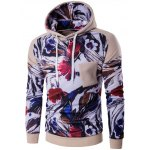 Floral Print Patchwork Design Pullover Hoodie