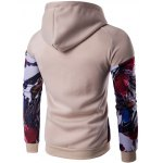 cheap Floral Print Patchwork Design Pullover Hoodie