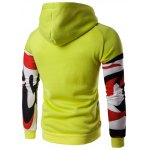 cheap Abstract Print Color Block Pullover Hoodie
