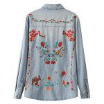 cheap Oversized Embroidered Back Denim Shirt