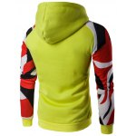 cheap Kangaroo Pocket Abstract Printed Raglan Hoodie