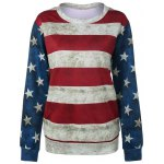 Striped Star Print Patchwork Sweatshirt