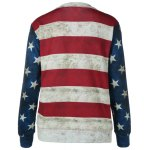 cheap Striped Star Print Patchwork Sweatshirt