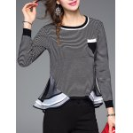 cheap Striped Ruffled Patchwork Knitwear