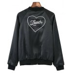 cheap Embroidered Love Heart Satin Bomber Jacket