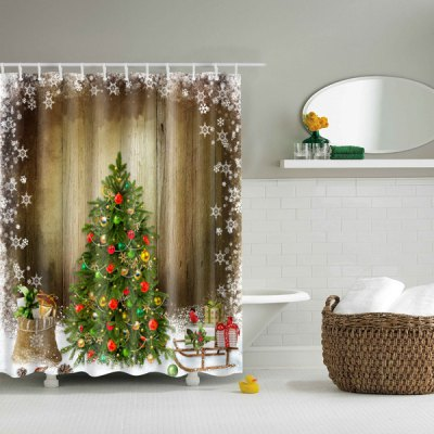 Hot Sale Waterproof Polyester 3d Merry Christmas Shower Curtain Online Shopping