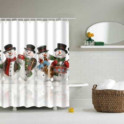 Bath Waterproof Polyester Christmas Snowman Shower Curtain