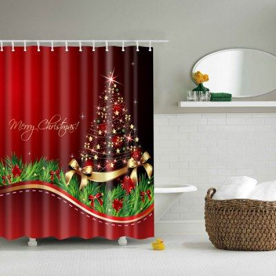 Thicken Waterproof Polyester Merry Christmas Shower Curtain