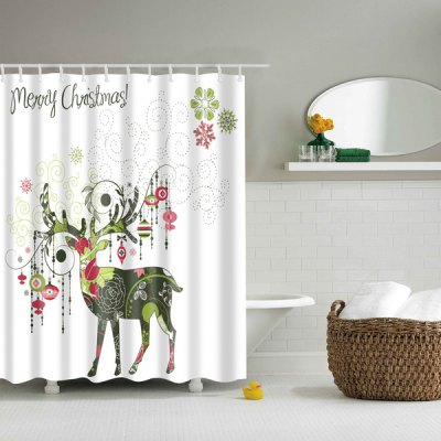 Christmas Deer Printed Waterproof Shower Curtain