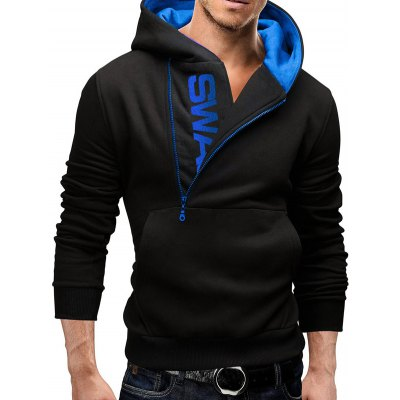 Special price for IZZUMI Letter Print Long Sleeve Side Half-Zip Up Hoodie