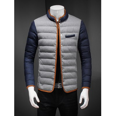 Constrast Piping Zip Up Quilted Jacket