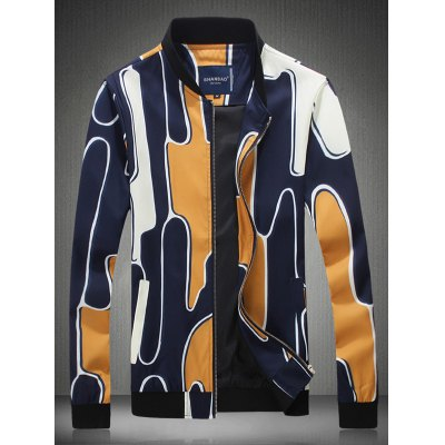 Abstract Printed Stand Collar Zip Up Jacket