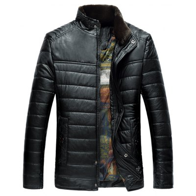 Stand Collar Zip-Up PU Thermal Jacket
