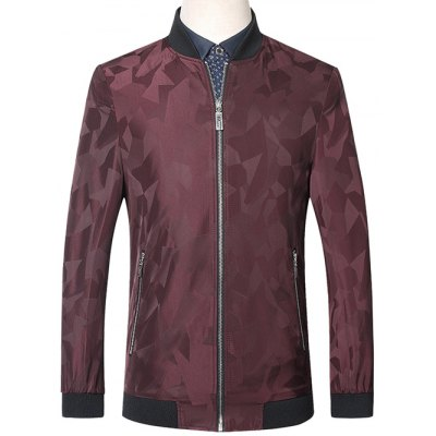 Abstract Pattern Stand Collar Zip Up Jacket