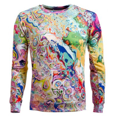 Round Neck Abstract Printed Sweatshirt