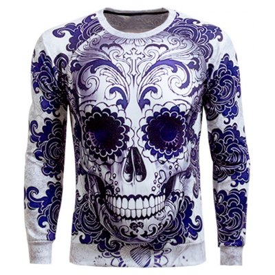 Long Sleeve Skull 3D Printed Sweatshirt