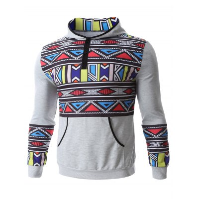 Geometric Print Kangaroo Pocket HoodieMens Hoodies &amp; Sweatshirts<br>Geometric Print Kangaroo Pocket Hoodie<br><br>Material: Cotton Blends<br>Clothing Length: Regular<br>Sleeve Length: Full<br>Style: Casual<br>Weight: 0.650kg<br>Package Contents: 1 x Hoodie