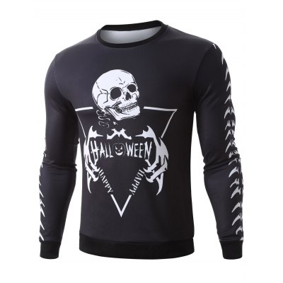Halloween Skeleton Print Pullover SweatshirtMens Hoodies &amp; Sweatshirts<br>Halloween Skeleton Print Pullover Sweatshirt<br><br>Material: Cotton Blends<br>Clothing Length: Regular<br>Sleeve Length: Full<br>Style: Casual<br>Weight: 0.650kg<br>Package Contents: 1 x Sweatshirt