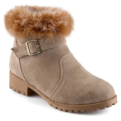 Buckle Faux Fur Suede Short Boots