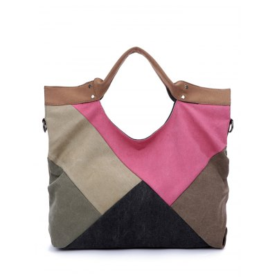 Patchwork Canvas Tote Bag