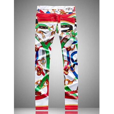 Plus Size Zipper Fly Colorful Belt Print Straight Leg Pants