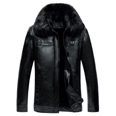 Faux Fur Collar Zipper-Up Thermal PU Jacket