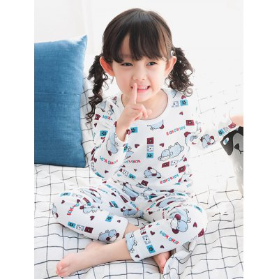 Cartoon T Shirt Elastic Waist Pants Pajamas Sets