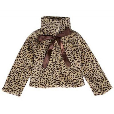 Bowknot Peter Pan Collar Leopard Faux Fur Jacket