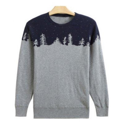 Crew Neck Color Block Splicing Snow Pattern Long Sleeve Sweater