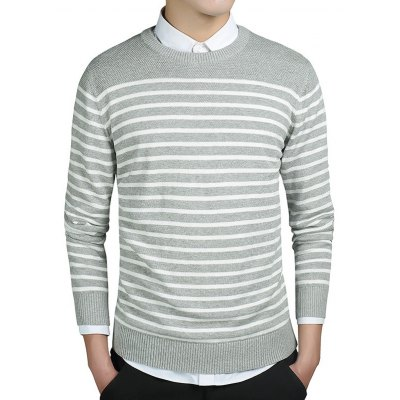 Striped Round Collar Long Sleeves Sweater